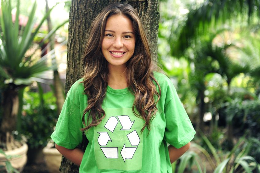 woman with go green recycling tee shirt