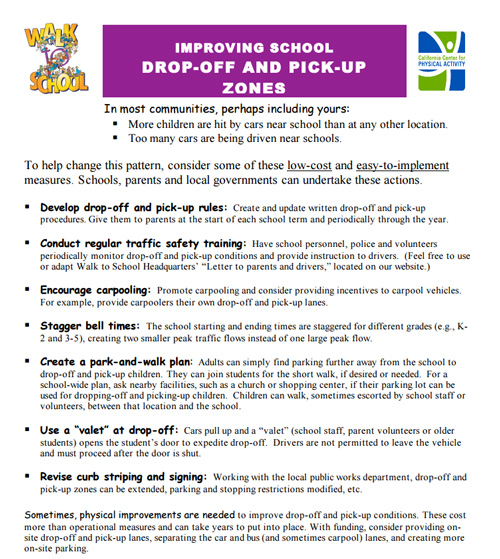 safe kid drop-off pick-up plan worksheet