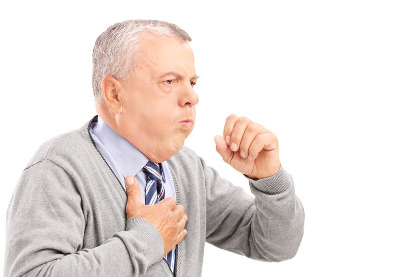 19406370 - a mature gentleman coughing because of pulmonary disease isolated on white background