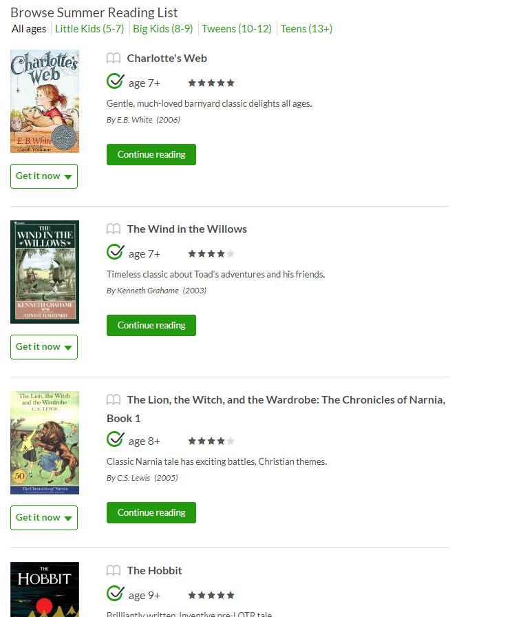 summer reading list from commonsensemedia.org
